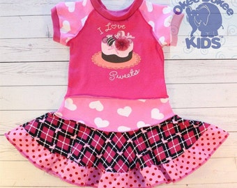 SALE I LOVE sweets ... cool funky recycled upcycled  pieced dress  size 24months