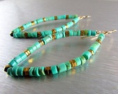 25% Off Summer Sale Turquoise Dangle Hoops