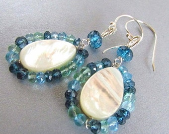 25% Off Summer Sale Mother Of Pearl, With Apatite and London Blue Quartz Sterling Silver Earrings