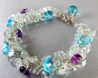 25% Off Summer Sale Aquamarine and Quartz Sterling Wire Wrapped Bracelet
