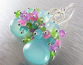 End Of Summer Sale Aqua Chalcedony With Pink Moonstone and Green Chalcedony Sterling Silver Cluster Earrings