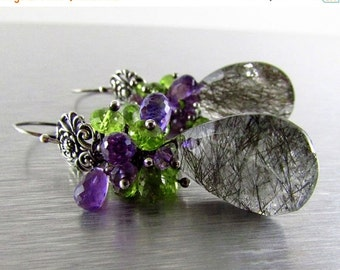 20 % Off Rutilated Quartz With Amethyst and Peridot Oxidized Sterling Silver Cluster Earrings
