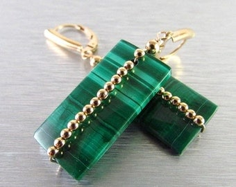 BIGGEST SALE EVER Malachite and Gold Filled Lever Back Earrings