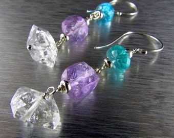 Herkimer Diamonds With Apatite And Amethyst Dangle Sterling Earrings