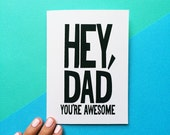 valentines day card from kids birthday card for dad hey dad you're awesome funny father's day gift rustic design black white green quote