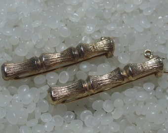 Beautiful vintage hair barrette gold tone, bamboo look, matching pair,