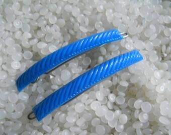 vintage barrette, bright blue barrette pair