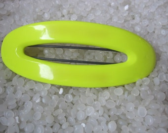 vintage barrette 1980- bright yellow neon retro barrette