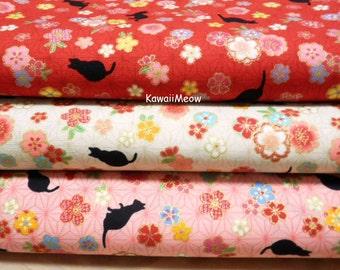Kimono Fabric - Asanoha Black Cat Sakura3 Fat Quarter Bundle Set (ta160528)