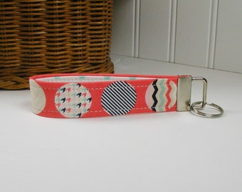 Key Fob Wristlet, Keychain, Fabric Key Fob .. Trendsetter Dots in Coral