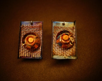New   Sterling Silver  Titanium Earrings one of a kind