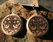 Old Birds Woodcut burned in Oregon Myrtle Wood Earrings - Wooden Jewelry,
