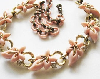 Vintage Pink Rhinestone Necklace