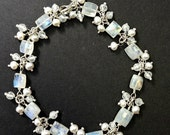 CUPID SALE xOx Wedding Bracelet Wire Wrap Moonstone Bracelet Pearl Gem Cluster Dangle Bracelet Bridal Jewelry