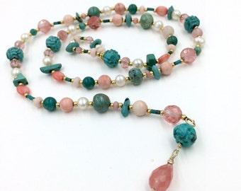 HALF PRICE SALE Turquoise Coral Lariat Necklace, Pearl Green Turquoise Coral Gemstone Lariat Necklace Colorful Summer Lariat Necklace