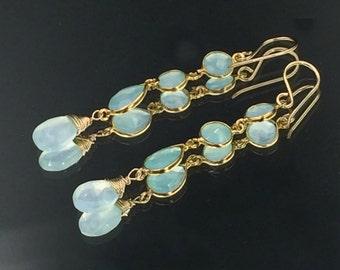 Aqua Gemstone Earrings Aqua Chalcedony Mint Long Dangle Earrings Gold Filled Wire Wrap Connector Earrings