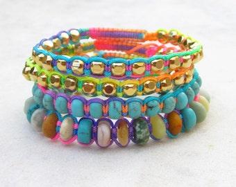 Neon rainbow friendship bracelets, hippie stacking bracelets, turquoise macrame bracelet, gold beads bracelet, multi gemstone bracelet boho