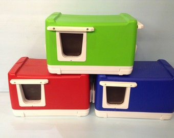 CAT POD/ 2 Doors (Ships Next Bus. Day) outdoor cat house,shelter,condo,tube,insulated,cabin,feral