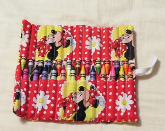 New handmade minnie mouse crayon roll organizer