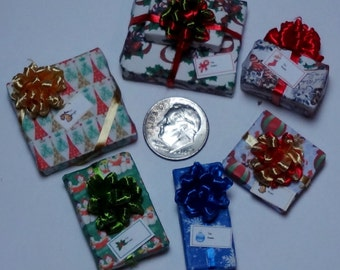 Six Assorted Miniature Christmas Packages set XP112