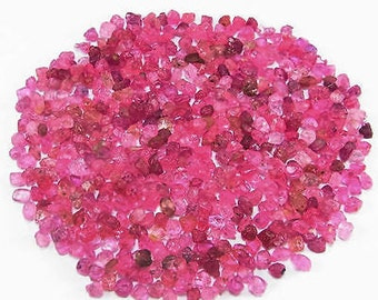 Pink Sapphire gemstone pieces  - tumbled raw rough stone crystal  - heated -  tiny pebble chip sand bright light pink - corundum bagPS66