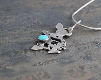 Freeform Turquoise Pendant, Reclaimed Silver Necklace, Oxidized Pendant, Turqouise Necklace, Sterling Silver Necklace
