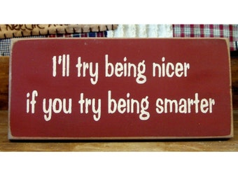 I'll try being nicer if you try being smarter wood sign