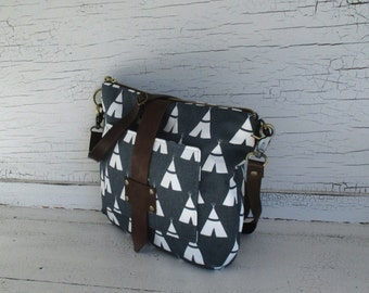Charcoal Gray Teepee Cross Body Purse, Shoulder Bag With iPhone 6 Plus Pocket