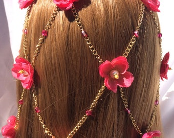 Fuchsia Flowered Headdress - Fuchsia Silk Flowers with Crystals & Pearls on Gold Chain