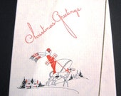 Vintage Art Deco Christmas Card, Woman In Wrapped Red Coat With Matching Hat Walking A Borzoi Dpg