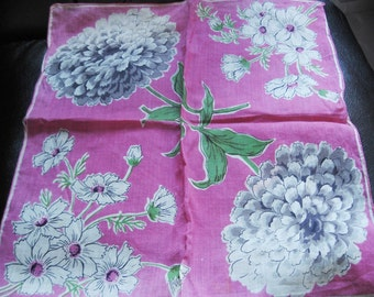Vintage Hanky, Bright Pink With Great Big Zinnias  In Two Corners