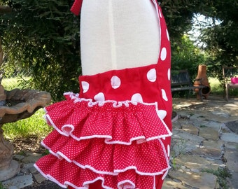 Bubble Romper Sunsuit  with Ruffles in Polka Dots for Baby Girls