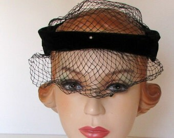 Darling Mini Hat Veil Black Velvet Halo Hat with Rhinestones Vintage Veil Hat