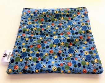 One Small 8 x 8 Zippered Cosmetic Bag - Blue Swirls