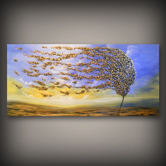 72 x 31 art abstract original painting blue metallic gold tree painting