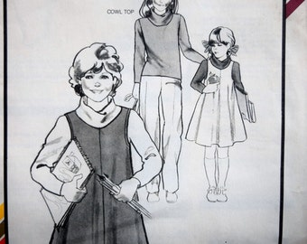 Vintage Stretch&Sew 909 Girl's Jumper and Cowl Top (uncut)