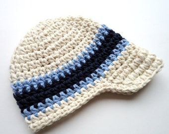 Boys Hat, Baby Boy Hat, Crochet Visor Beanie, Boys Crochet Visor Beanie, Boys Crochet Hat, Ecru, Light Blue, Navy Blue, MADE TO ORDER