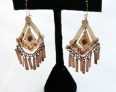 Vintage Boho Gypsy Dangle Earrings Painted Mother of Pearl Brass Shimmer Dangles