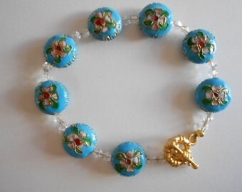 Blue Bracelet Cloisonne Bracelet Clear China Crystals Blue Cloisonne Beads Metal Beads Enamel Beads China Beads Pink Flowers Blue Beads