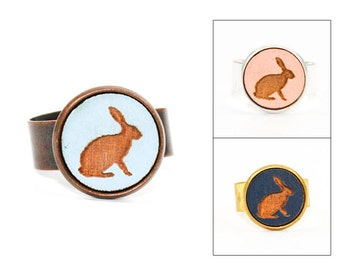 Rabbit Ring - Laser Cut - Engraved Wood in Adjustable Setting (Choose Your Color / Made To Order)