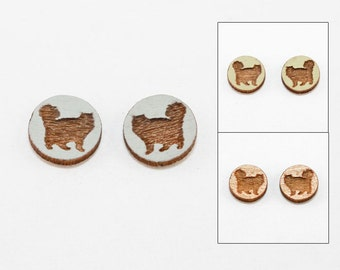 Cat Earrings - Laser Cut Wooden Studs (Choose Your Color) - Pet Jewelry - Cat #13