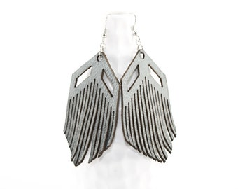 Leather Fringe Earrings -  Laser Cut Light Gray Modern Earrings - Gifts for Her