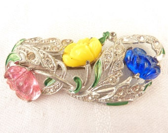 Antique Silver Tone Rhinestone Brooch with Carved Glass and Enamel Flowers