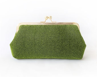 Shimmery Olive Green Clutch Purse for Bride, Bridesmaid, Mothers