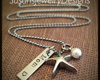 Starfish Urn Necklace - stainless steel 1 sided disc & starfish cremation urn and chain - Swarovski crystal - custom wording available