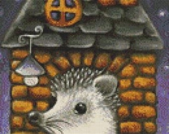 Counted Cross Stitch, Hedgehog in a House, Cross Stitch Kit, Tanya Bond, Needlecraft Kit