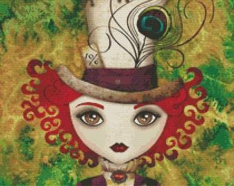 Cross stitch modern art by Sandra Vargas ' Lady Hatter' - Alice in Wonderland cross stitch kit - Mad Hatter