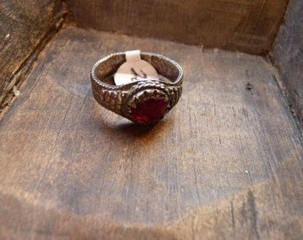 Antique ring with ruby red glass