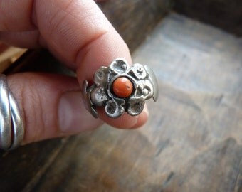 Antique coin silver ring with coral