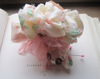 Vintage Fabric Corsage and Boutonniere Set * Pommery and Vintage Wedding Flowers * Lapel * Buttonhole * Fabric Corsage